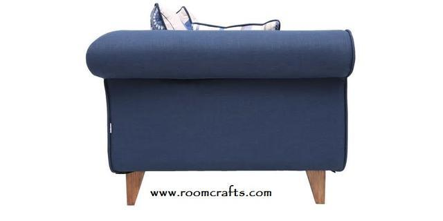 Gilberto three seater sofa with cushions in teal blue colour