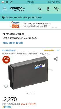 Gopro fusion battery asbba001 black brand new