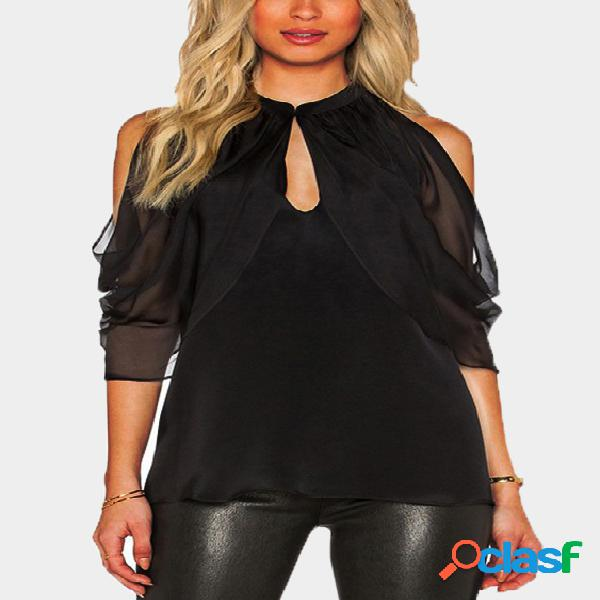 Black cut out plain cold shoulder 3/4 length sleeves see through blouse