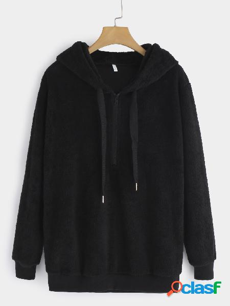 Black plain v-neck long sleeves hoodie