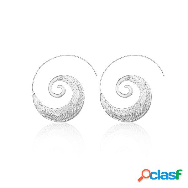 Silver spiral leaf shape earrings