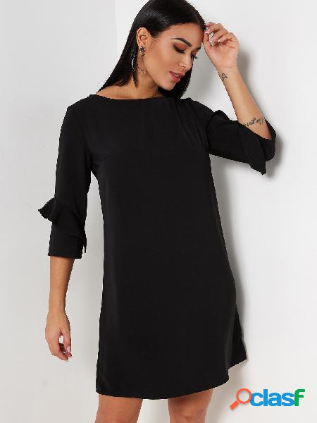 Simple style black round neck 3/4 length flounced sleeves mini dress