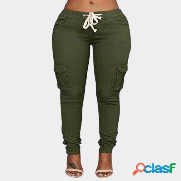 Army green side pockets plain drawstring waist skinny cargo pants