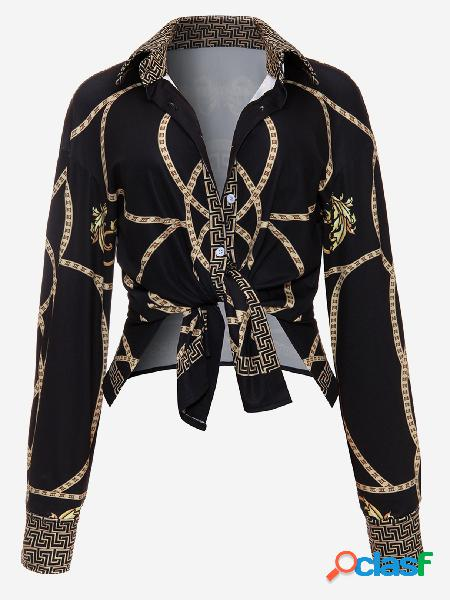 Black vintage inspired floral print tie-up front long sleeve shirts