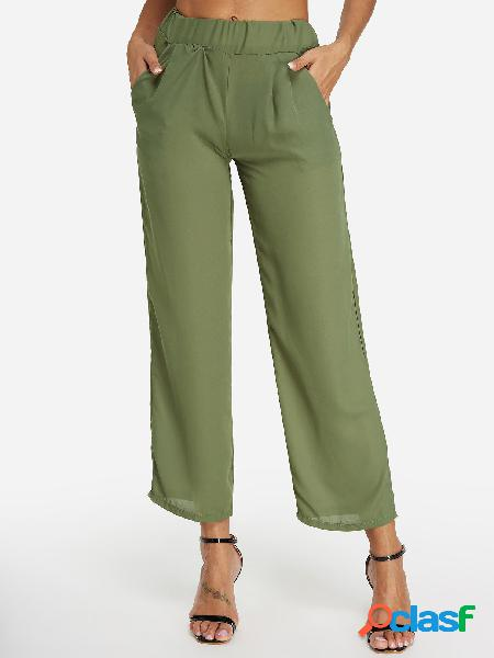 Green side pockets wide leg plain middle-waisted pants