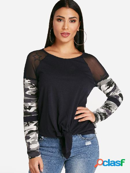 Black camouflage patchwork crew neck self tie design long sleeves t-shirts
