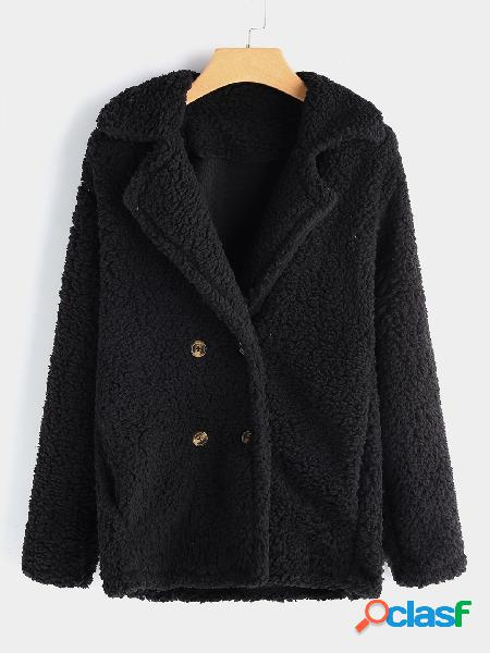 Black side pockets plain lapel collar long sleeves faux fur coat