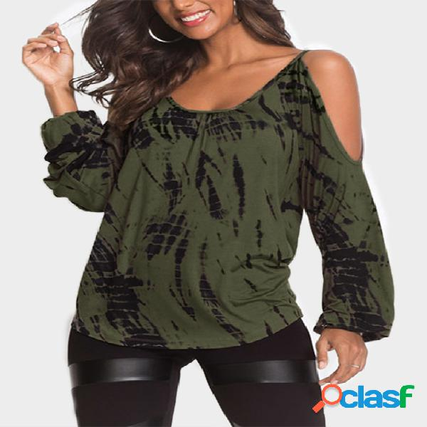 Army green contrast printed cold shoulder long sleeves curved hem casual t-shirt