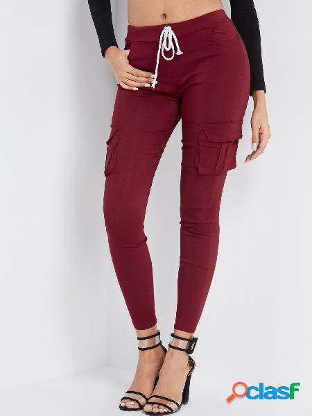 Burgundy side pockets plain drawstring waist skinny cargo pants