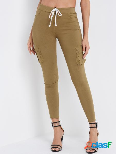 Khaki side pockets plain drawstring waist skinny cargo pants