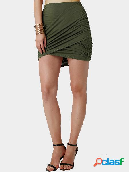 Army green wrap front pleated mini skirt