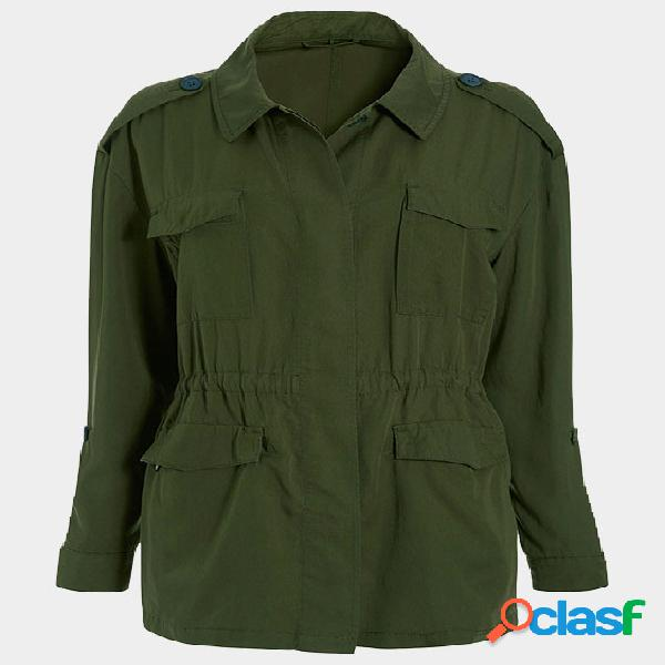 Army green coat with shoulder knot