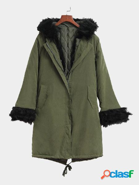 Army green fashion two side pockets padded outerwear with hood design