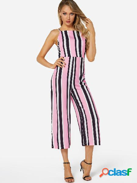 Fashion stripe pattern backless jumpsuit with straps design