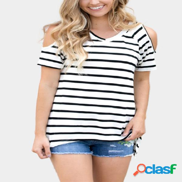 Simple stripe cold shoulder t-shirts in white