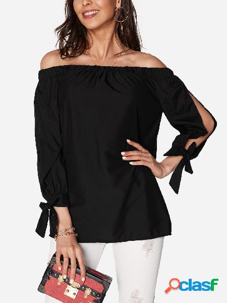 Black tie at cuffs off shoulder long sleeves blouse