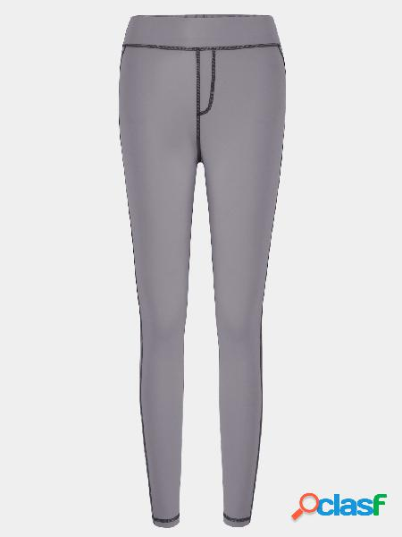 Stitching design bodycon fit elastic trousers in grey