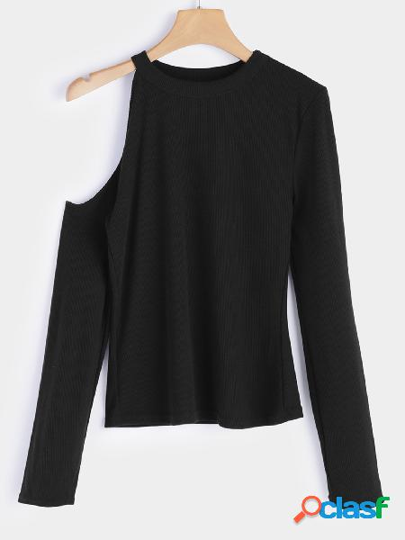 Black Cut Out Plain Cold Shoulder Long Sleeves Blouse