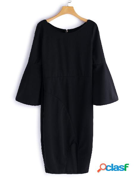Black zip design plain round neck flared sleeves midi dress