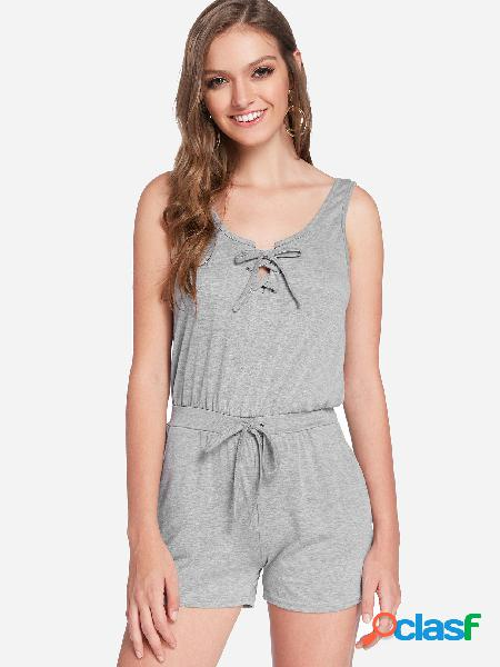 Grey self-tie design plain scoop neck sleeveless playsuits