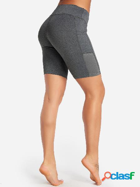 Grey side pockets plain high-waisted bodycon sports shorts