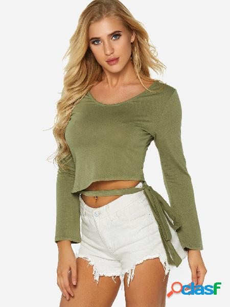 Army green self tie design plain round neck long sleeves t-shirts