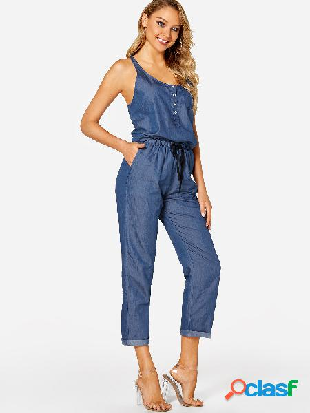 Blue button design plain scoop neck sleeveless drawstring waist jumpsuit