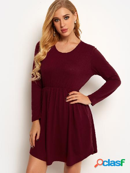 Burgundy side pockets plain crew neck long sleeves high-waisted dress