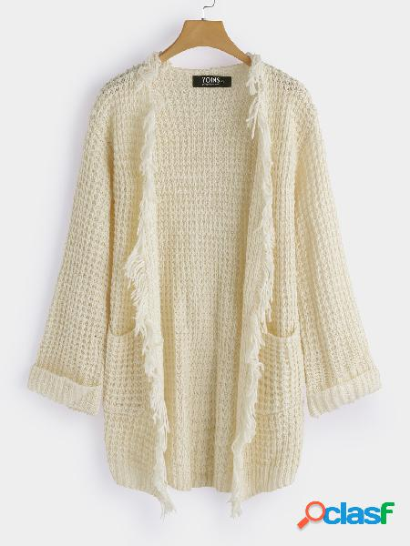 Beige tassel details side pockets long sleeves knitted coat