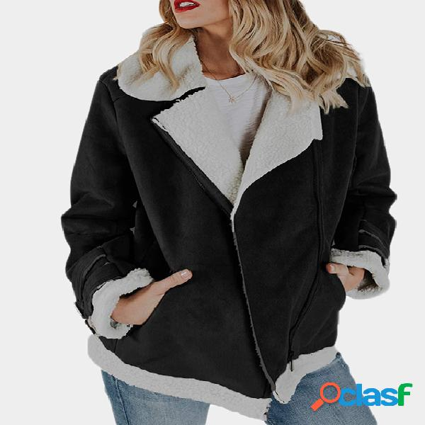 Black faux leather plain lapel collar long sleeves plush coat