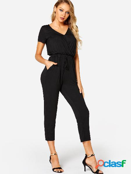 Black crossed front design plain drawstring waist jumpsuit