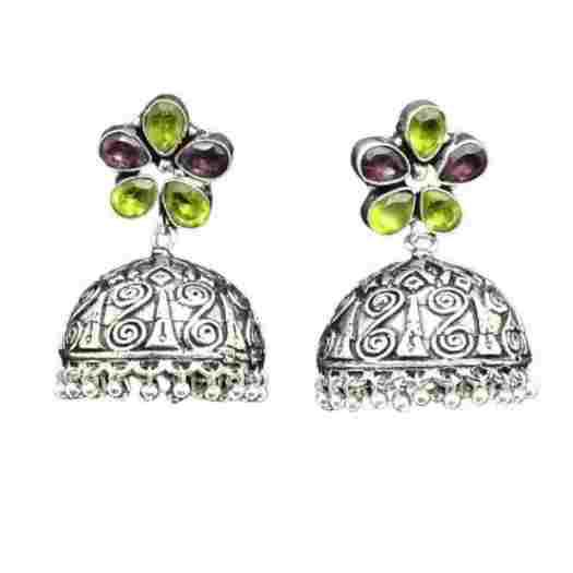 Shop silver tone jhumka earrings online from jheaps shopping