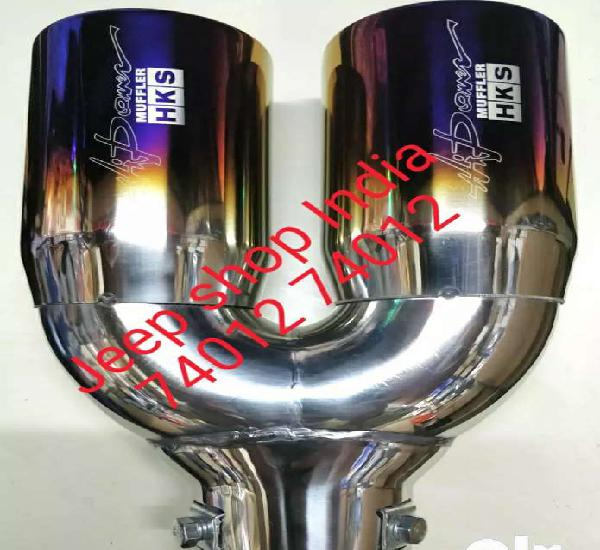 Double muffler exhaust pipe suitable for cars and jeeps
