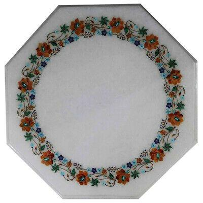 """18""""x18"""" marble coffee table top decorative inlay work"""