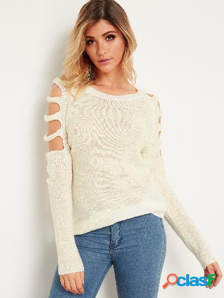 White cold shoulder long sleeves semi sheer knitting sweaters