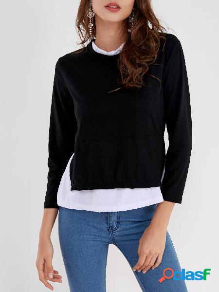 Black cozy round neck long sleeves slit side two in one top