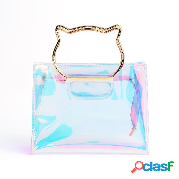 Pvc transparent fashion clutch bags with chain strap