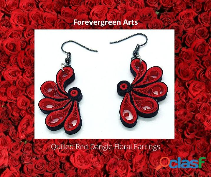 Quilled Red Floral Dangle Earrings