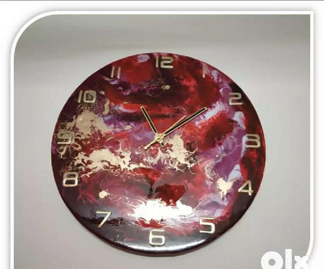 Hand made resin art wall clock