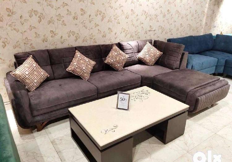 Unique colour l shape sofa set with table