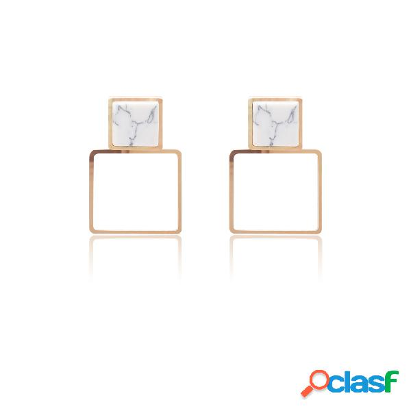 Gold marble design square drop earrings