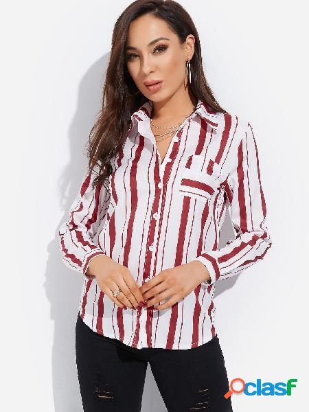 Red single breasted design stripe classic collar long sleeves shirt