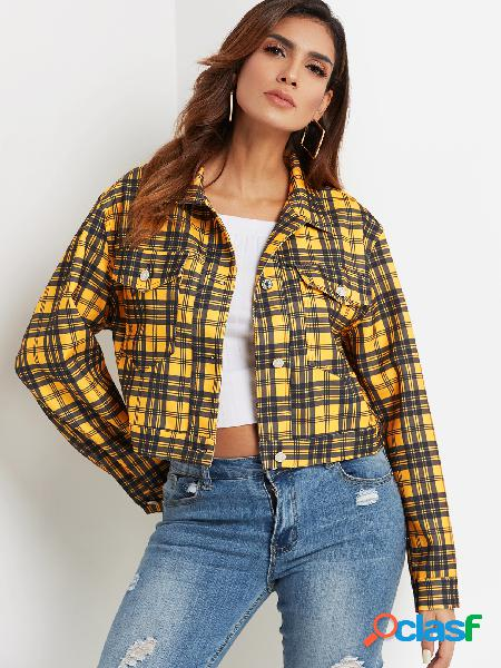 Yellow single breasted design grid classic collar long sleeves coat