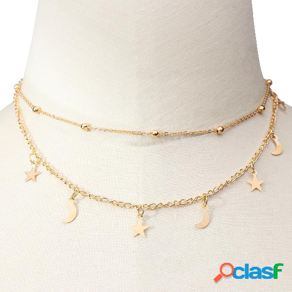 Beads detail moon star pendant chain necklace