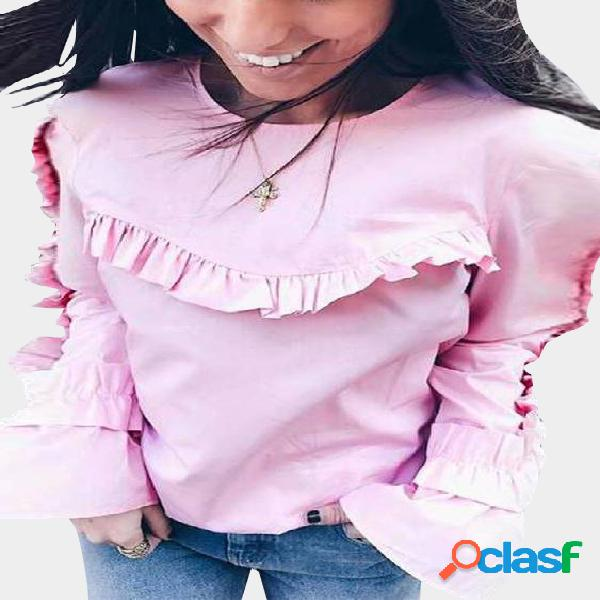 Pink flounced stitching round neck bell sleeves blouse