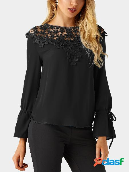 Black round neck bell sleeves embroidered blouses