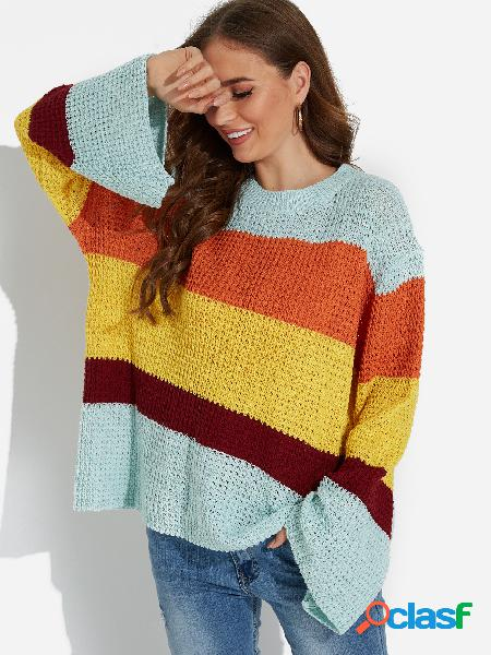 Blue color matching round neck bell sleeves knitting sweaters