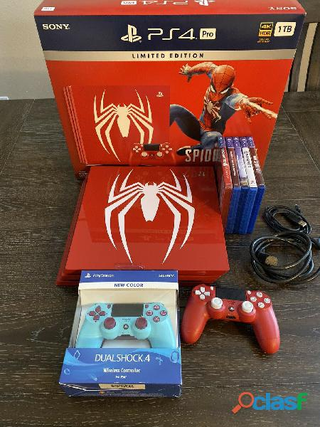 Sony playstation ps4 pro 1tb limited edition spider man red console
