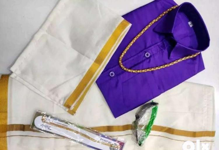 Kids boys dhothi set with spets, chain and brasslet free