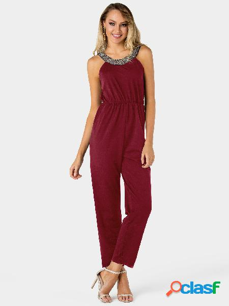 Burgundy sequins embellished plain pleated stretch waistband jumpsuit